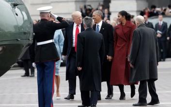 Με ελικόπτερο αποχώρησε μετά από 8 χρόνια στο Λευκό Οίκο το ζεύγος Ομπάμα