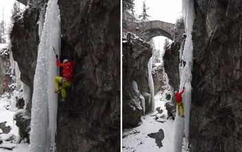 Κομμάτι πάγου καταρρέει με έναν ορειβάτη πάνω του