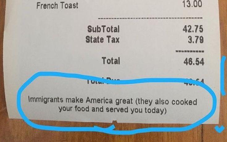 Μήνυμα προς τον Τραμπ πάνω σε απόδειξη εστιατορίου: «Οι μετανάστες κάνουν την Αμερική μεγάλη»