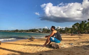 Η ανάρτηση του Σάκη Τανιμανίδη στο Instagram από την Καραϊβική