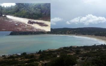 Η ισχυρή βροχόπτωση δημιούργησε… ποτάμι στη Γαύδο