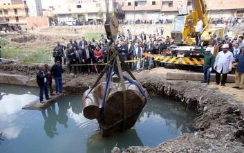 Ανασύρθηκε από τα νερά το άγαλμα του Φαραώ Ραμσή