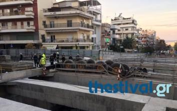 Ανετράπη γερανός του μετρό Θεσσαλονίκης
