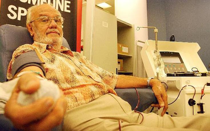 Ο «άνθρωπος με το χρυσό αίμα» που το δάνεισε πάνω από 1.000 φορές σε 60 χρόνια