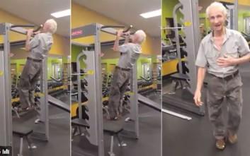 Οι απίστευτες επιδόσεις ενός 90χρονου στο γυμναστήριο