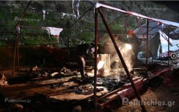 Κάηκε καταυλισμός προσφύγων στη Σούδα