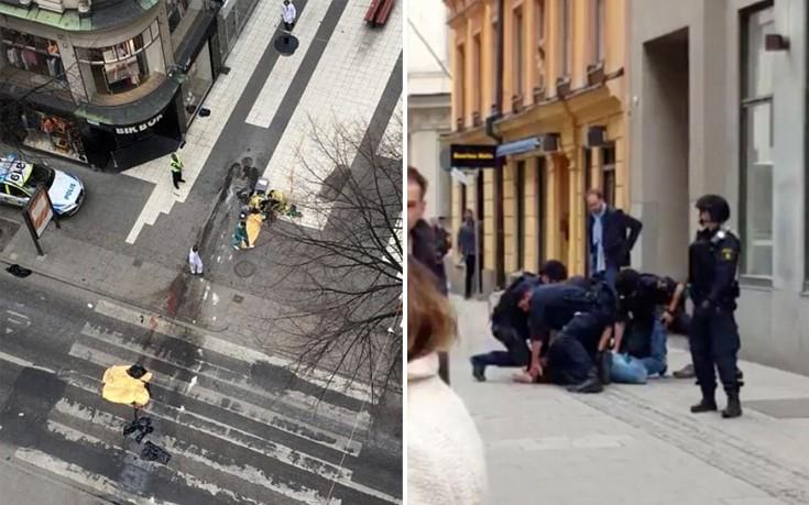 Η στιγμή που αστυνομικοί ακινητοποιούν άνδρα λίγο μετά την επίθεση στη Στοκχόλμη