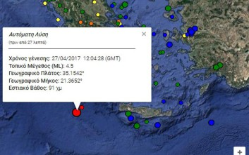 Σεισμική δόνηση 4,5 Ρίχτερ έγινε αισθητή στη Μεσσηνία