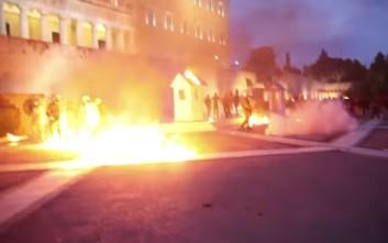 Βίντεο από τις επιθέσεις των αναρχικών στα ΜΑΤ έξω από τη Βουλή