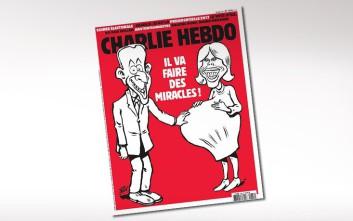 Εξοργίζει η «εγκυμοσύνη» της Πρώτης Κυρίας της Γαλλίας στο πρωτοσέλιδο του Charlie Hebdo
