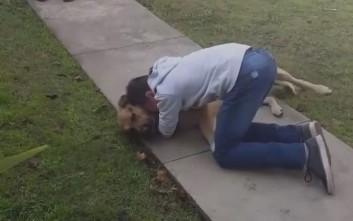 Η επανένωση του αγοριού με τον σκύλο του μετά από 8 μήνες