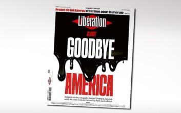 «Αντίο Αμερική» στο εξώφυλλο της Libération