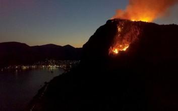 Βίντεο από τη φωτιά στο κάστρο της Μονεμβασιάς