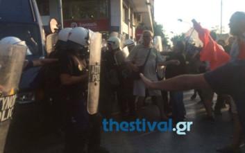 Ένταση μεταξύ διαδηλωτών και ΜΑΤ στη Θεσσαλονίκη