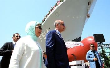 Ο Ερντογάν «βάπτισε» μία ακόμα κορβέτα «στελθ» και υποσχέθηκε αεροπλανοφόρο