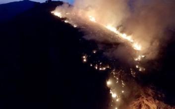 Σε ύφεση οι φωτιές σε Μονεμβασιά και Γρύλλο Κρεστένων