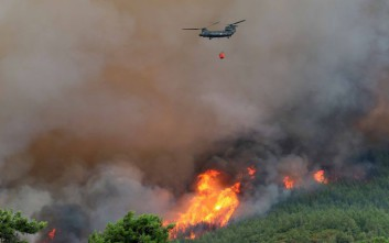 Οι ισχυροί άνεμοι ενισχύουν τη φωτιά στην Καισαριανή
