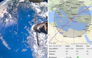 Ορατός απόψε από την Ελλάδα ο Διεθνής Διαστημικός Σταθμός