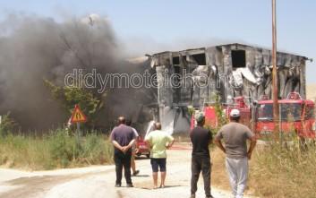 Πυρκαγιά σε αποθήκη με εύφλεκτα υλικά στο Διδυμότειχο