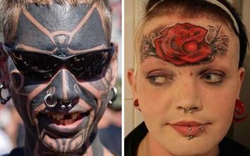 Ακραία τατουάζ στο πρόσωπο