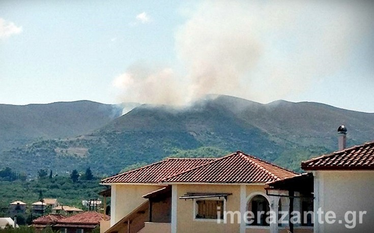 Μεγάλη πυρκαγιά σε δασική περιοχή της Λιθακιάς στη Ζάκυνθο