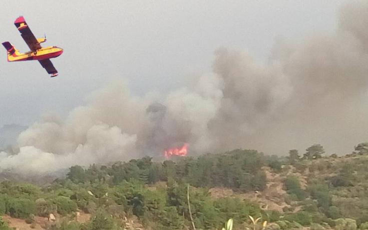 Σε εξέλιξη η φωτιά στη Λέσβο