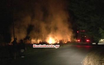 Σε εξέλιξη φωτιά σε δύσβατη περιοχή στη Νεμέα