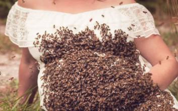 Έγκυος φωτογραφίζεται με 20.000 μέλισσες
