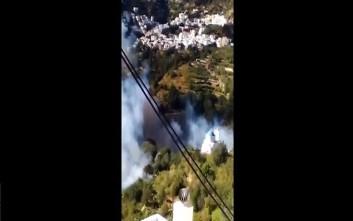 Φωτιά σε δύσβατη περιοχή στη Νάξο