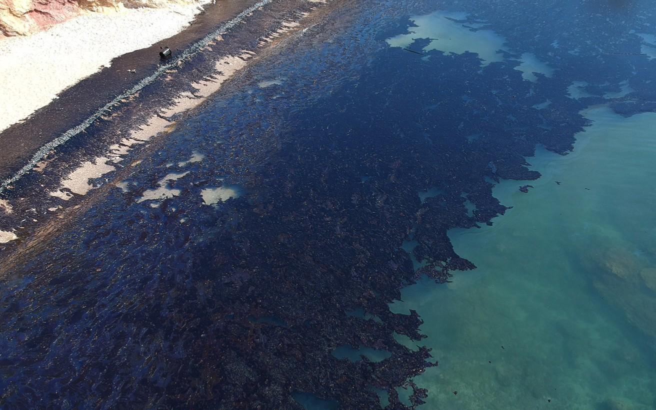 Εικόνες από το μαζούτ που κάλυψε τις παραλίες της Σαλαμίνας