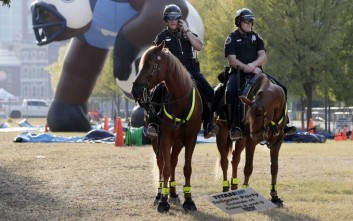 Police officers sit on horses outside Nissan Stadium before an NFL football game between the Tennessee Titans and the Jacksonville Jaguars Thursday, Oct. 27, 2016, in Nashville, Tenn. (AP Photo/James Kenney)
