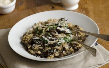 Ριζότο με σπανάκι και μανιτάρια