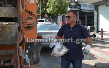 Ξανά στο σκουπιδιάρικο μετά τη σύλληψή του ο αντιδήμαρχος στη Λαμία