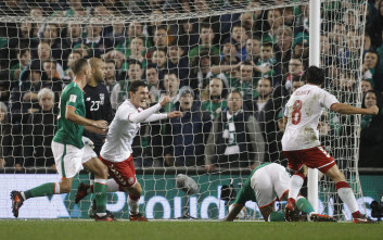 Denmark's players celebrate after scoring during the World Cup qualifying play off second leg soccer match between Ireland and Denmark at the Aviva Stadium in Dublin, Ireland, Tuesday, Nov. 14, 2017. (AP Photo/Peter Morrison)