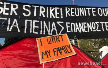 Δεύτερη ημέρα στην πλατεία Συντάγματος οι πρόσφυγες απεργοί πείνας