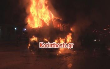 Κάηκε λεωφορείο εν κινήσει στον Ισθμό