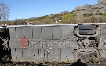 Λεωφορείο του ΚΤΕΛ με μαθητές έπεσε σε χωράφι