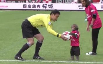 Μια μαϊμού έδωσε την μπάλα για να αρχίσει ματς στην Ιαπωνία