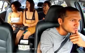 Γυναίκα κλέβει οδηγό ταξί, κοιτώντας την κάμερα… κατάματα