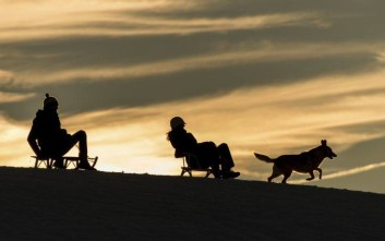 In this Dec. 25, 2017 photo, a couple with a dog going down a hill on sledges near Horben, Germany. (Patrick Seeger/dpa via AP)