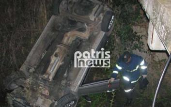 Αυτοκίνητο τούμπαρε σε κανάλι στην Ηλεία