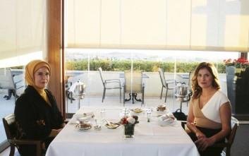 Τσάι με θέα την Ακρόπολη για Μπέτυ Μπαζιάνα και Εμινέ Ερντογάν