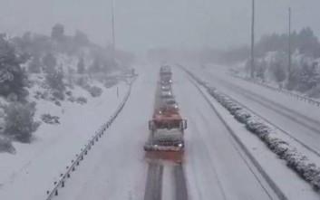 Δίπλωσαν νταλίκες από τη χιονόπτωση στην εθνική οδό Αθηνών - Λαμίας