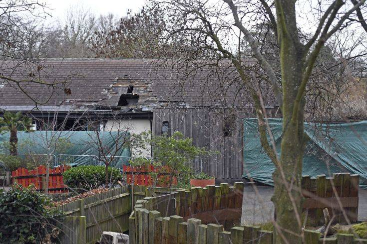 Damage is seen to the Adventure Cafe and Shop at London Zoo in London, Sunday, Dec. 24, 2017.  London Zoo has reopened, one day after a fire that killed four meerkats and an aardvark. The zoo said on its website Sunday it will operate normally, including visits with Santa. It says fire experts are confident the zoo can operate safely. (Victoria Jones/PA via AP)