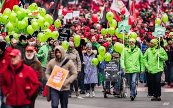 Στους δρόμους για τα δικαιώματά τους οι εργαζόμενοι στο Βέλγιο