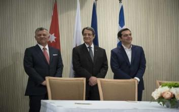 «Η τριμερής Κύπρου, Ελλάδος, Ιορδανίας επιβεβαίωσε τη στρατηγική συνεργασία των χωρών»