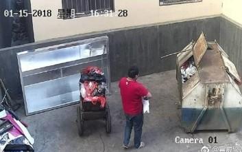Η στιγμή που πατέρας πετάει το νεογέννητο μωρό του στα σκουπίδια και φεύγει