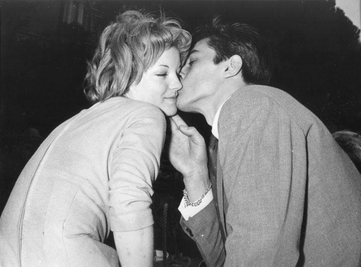 Romy Schneider with Alain Delon at the villa of Herbert Blatzheim, Schneider's adoptive father, in Morcote near Lugano after their engagement, March 22, 1955. (AP-photo)