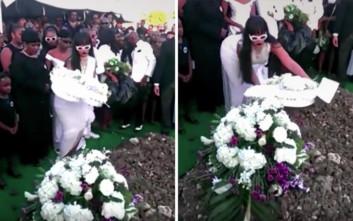 Στα λευκά η Ριάνα στην κηδεία του ξαδέλφου της