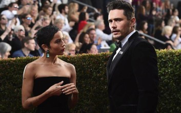 Zoe Kravitz, left, and James Franco arrive at the 75th annual Golden Globe Awards at the Beverly Hilton Hotel on Sunday, Jan. 7, 2018, in Beverly Hills, Calif. (Photo by Jordan Strauss/Invision/AP)